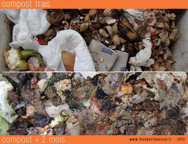 stade de décomposition des déchets au compost sur balcon