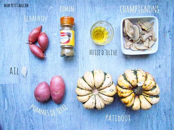 les ingrédients pour réaliser un velouté de patidou